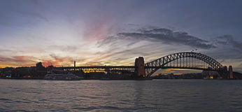 Sunset on harbor bridge Stock Photography
