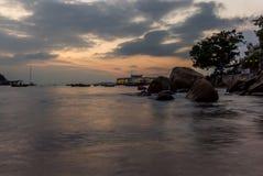 Sunset on the harbor of Lamma island - 7 Royalty Free Stock Image
