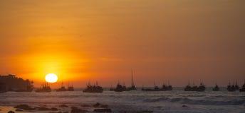 Sunset on the harbor of Mancora, Peru Stock Image