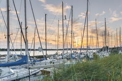 Sunset at the harbor of Niendorf in luebeck Royalty Free Stock Photography