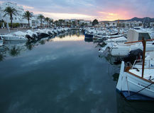 Sunset at the harbor. Port of Llança in Catalonia Royalty Free Stock Image