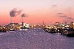Sunset in the harbor from Rotterdam Netherlands Stock Image