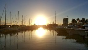 Sunset at the harbor Royalty Free Stock Photography