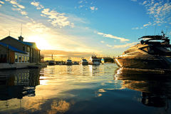 Sunset in harbor with yachts Royalty Free Stock Photo