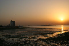Sunset at harbour. In arabian gulf stock images