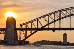 Sunset at the Harbour Bridge in Sydney, Australia. Sunset colors at the Harbour Bridge in Sydney, Australia Stock Photos