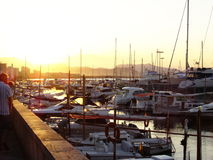 Sunset at harbour Royalty Free Stock Photography