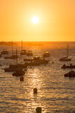 Sunset on the harbour of Tregastel Royalty Free Stock Photography