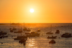 Sunset on the harbour of Tregastel Stock Photography