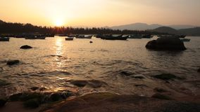 Sunset Harbour Vietnam stock footage
