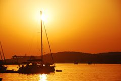 Sunset in harbour Royalty Free Stock Images