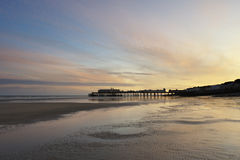 Sunset at Hastings Pier. A sunset view of Hastings Pier in East Sussex, UK Royalty Free Stock Photos