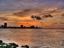 Sunset in havana, Cuba Royalty Free Stock Photography