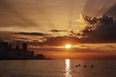 Sunset in Havana. Sunset at sea, with the skyline of Havana (Cuba Stock Photo