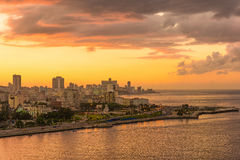 Sunset in Havana with a view of the city skyline. Sunset in Havana with a view of the bay and the city skyline Stock Photo