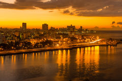 Sunset in Havana with a view of the city skyline Royalty Free Stock Image