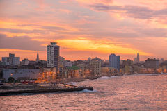 Sunset in Havana with a view of the city skyline Royalty Free Stock Photography