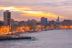 Sunset in Havana with a view of the city skyline Royalty Free Stock Images