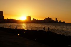 Sunset in Havana Stock Images