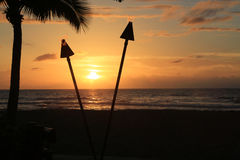 Sunset in Hawaii Royalty Free Stock Photography