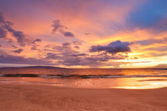 Sunset on Hawaiian Beach Stock Photo