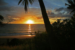 Sunset on a Hawaiian beach Stock Photography