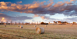 Sunset Hay Bales Stock Images