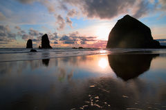 Sunset on Haystack Rock Royalty Free Stock Photo