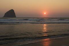 Sunset Haystack Rock Cape Kiwanda, Oregon Royalty Free Stock Images