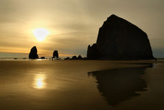 Sunset, Haystack Rock, Oregon, USA Royalty Free Stock Photo