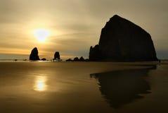 Sunset, Haystack Rock, Oregon, USA Royalty Free Stock Photo