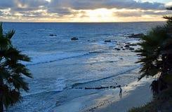 Sunset at Heisler Park in Laguna Beach, California. Royalty Free Stock Photos