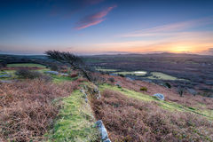Sunset at Helman Tor in Cornwall Royalty Free Stock Photo
