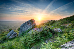Sunset at Helman Tor in Cornwall Stock Photos