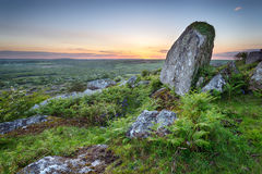 Sunset at Helman Tor in Cornwall Stock Photo