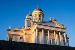 Sunset at Helsinki Cathedral Royalty Free Stock Images