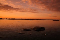 Sunset in Helsinki Stock Photo
