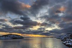 Sunset at Henningsvaer shoreline Royalty Free Stock Photos