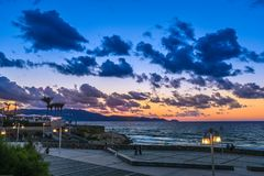 Sunset in Heraklion Crete Greece. A summer photo of the sea during the sunset royalty free stock images