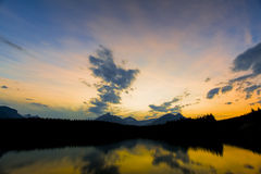 Sunset on Herbert Lake, Banff Royalty Free Stock Images