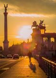 Sunset on Heroes Square, Budapest Stock Image