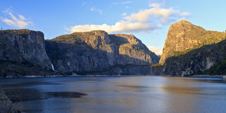 Sunset on Hetch Hetchy. Late afternoon sun hitting the tops of the mountains at Hetch Hetchy Reservoir in Yosemite National Park, California Stock Photography