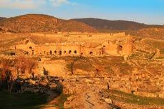 Sunset at Hieropolis, Turkey Royalty Free Stock Photography
