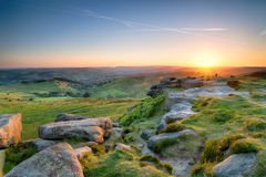 Sunset from Higger Tor. Beautiful summer sunset from the top of Higger Tor near Sheffield in the Peak District National Park Royalty Free Stock Photo