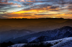 Sunset on the high altitude mountain Stock Photo