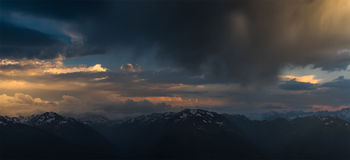 Sunset high in mountain. Greater Caucasus Mountain Range. Royalty Free Stock Image