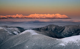 Sunset in the High Tatras Royalty Free Stock Photos