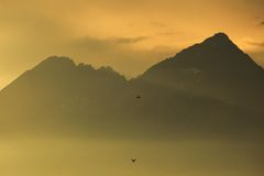 Sunset in High Tatras Mountains Royalty Free Stock Photography