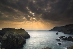 sunset at high tide at Kynance Cove Royalty Free Stock Photo