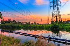 Sunset  of high voltage Royalty Free Stock Images